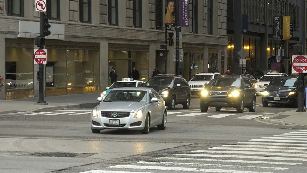 Cars at Michigan Avenue intersection