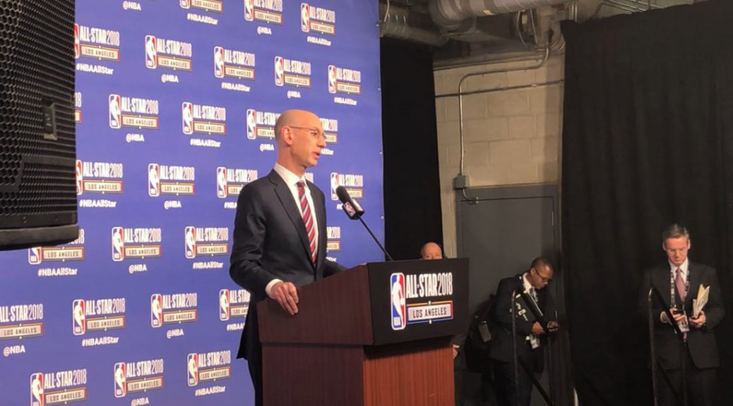 Adam Silver addresses the media at his All-Star Weekend press conference on Saturday.
