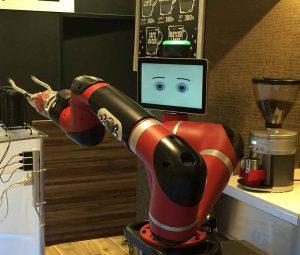 A robot coffee barista in Henna na Café in Shibuya, Tokyo. (Minghe Hu/MEDILL)