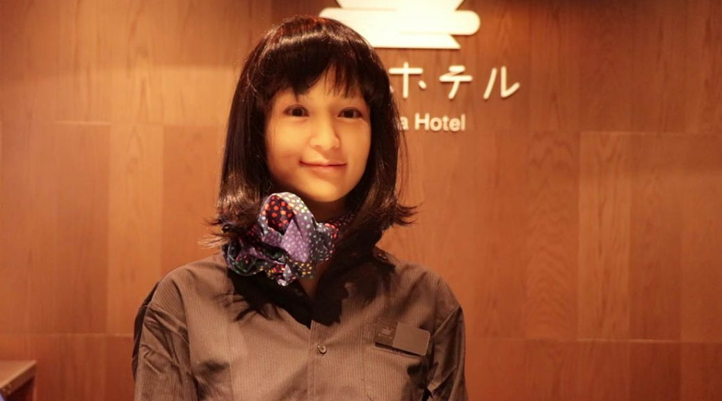 A robot receptionist in Hann na Hotel in Ginza, Tokyo.