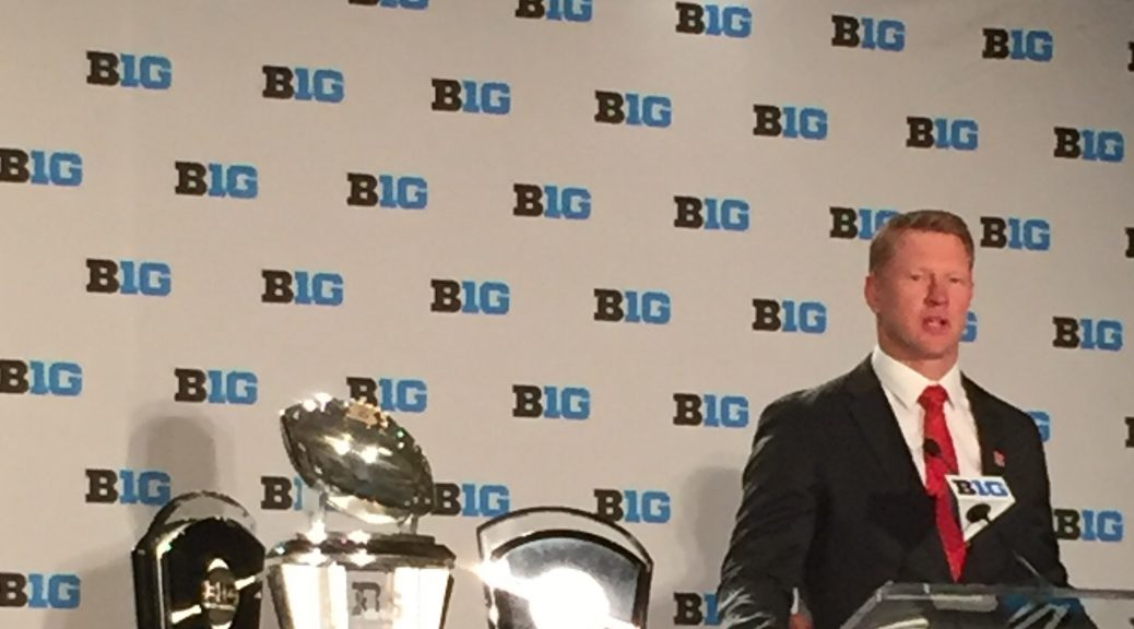 Nebraska head coach Scott Frost answers questions at his opening press conference on Monday, July 23, 2018 at Big Ten Media Days (Chris Kwiecinski/MEDILL).