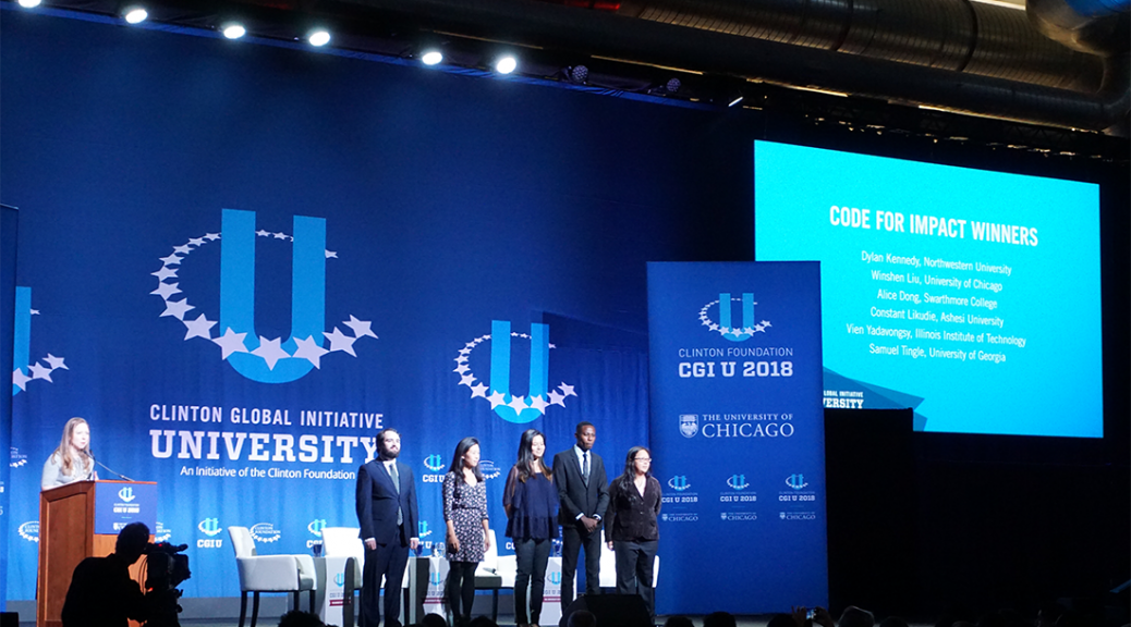 A multi-university proposal to coordinate disaster relief for communities in Southeast Asia won the Clinton Foundation Codeathon at Clinton Global Initiative University (CGI U) on Friday. Team members (identify them) took a blow at CGI U 2018 closing plenary session, hosted at the University of Chicago.