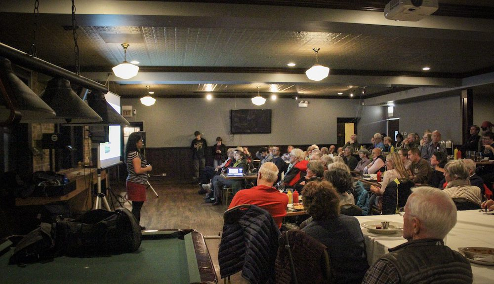 Over 75 people gather at Firehouse Grill in Evanston for Northwestern's Science Cafe, a monthly forum for scientific issues. (Selah Holland/MEDILL)